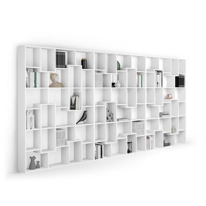 Mobili Fiver, Bibliothèque XXL Iacopo (482,4 x 236,4 cm), Frêne Blanc, Mélaminé, Made in Italy
