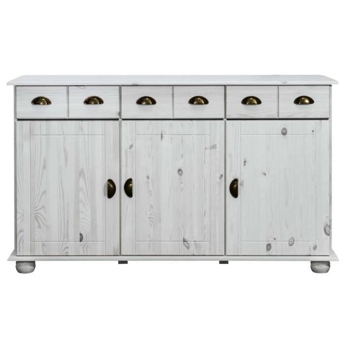 Solde - Mobilier FR73165M Buffet De Cuisine Haut de gamme, Bahut Armoire de cuisine 134x39x79,5 cm Bois de pin massif