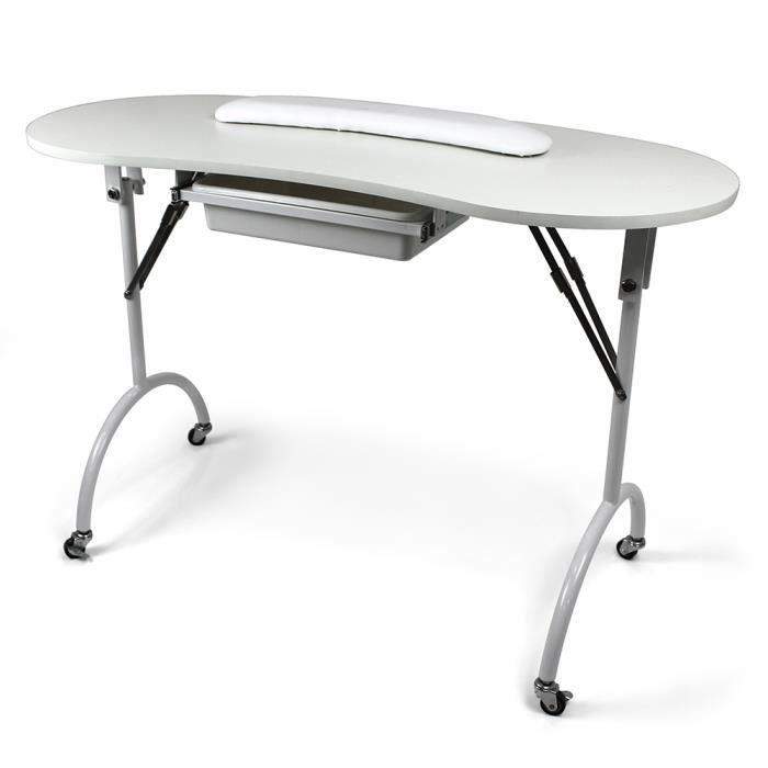 Table manucure domicile pliante Favignana Blanc Sur roulettes L= 110cm l= 46cm H= 75cm, Equipement esthétique Beautélive