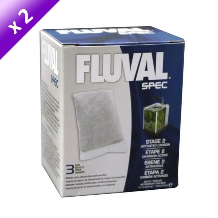 FLUVAL Spec Lot de 2 Cartouches à charbon - pack de 3