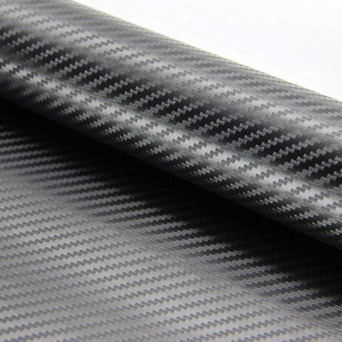 2Pcs 3D Fibre de Carbone Autocollant Adhésif pour Voiture, 1520 x 300 mm DIY Covering Noir Mat