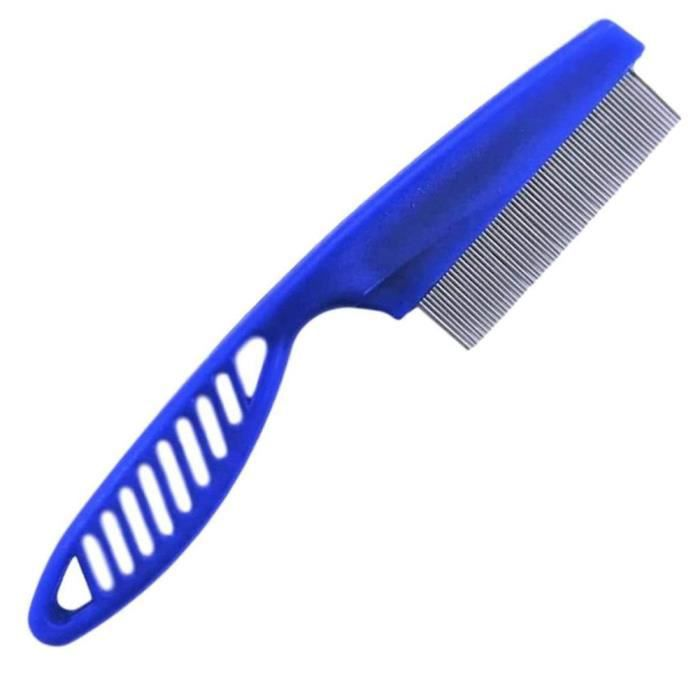 Flea peigne en acier inoxydable aux puces Lice Combs dents fines Cheveux longs animaux Peignes remèdes Répulsif bleu S