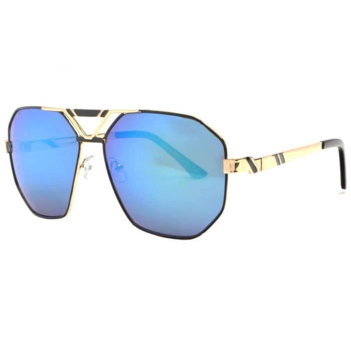 Grosses Lunettes Soleil Miroir Bleu Monture Noire et Doree Fashion Kan - Taille unique - Bleu