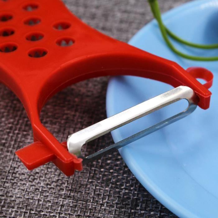 G-MOTIONS Économe / Éplucheur multifonction avec rappe et découpe intégré pour Légumes et Fruits (Couleur : rouge)