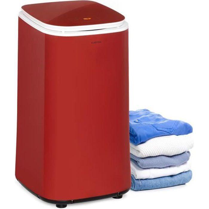 Klarstein Zap Dry Sèche-linge 50 litres 820W , panneau de commande tactile , tambour acier inox , rouge