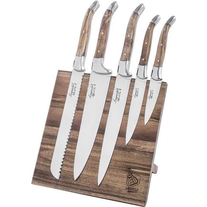 Set de couteaux Laguiole style de vie Luxury Line, 5 pièces, bloc à couteaux magnétique en bois d'olivier