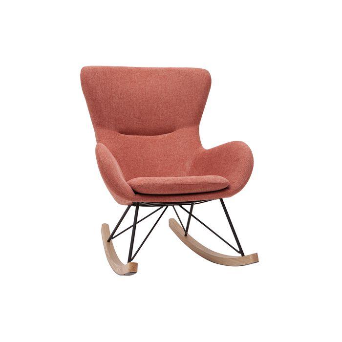 Miliboo - Rocking chair design effet velours terracotta ESKUA