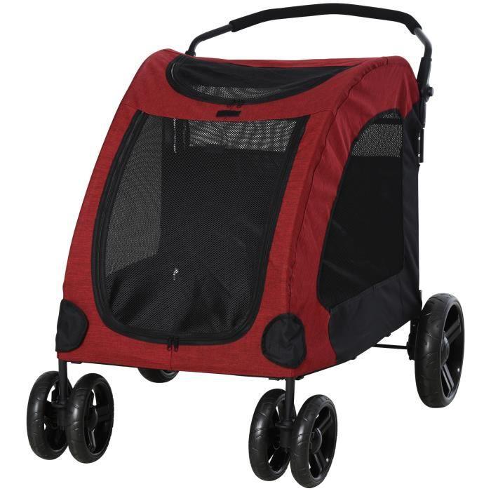 Poussette pliable pour chien chat animaux roues avant pivotantes 360 degrés rouge dim. 98L x 82l x 110H cm 98x82x110cm Rouge