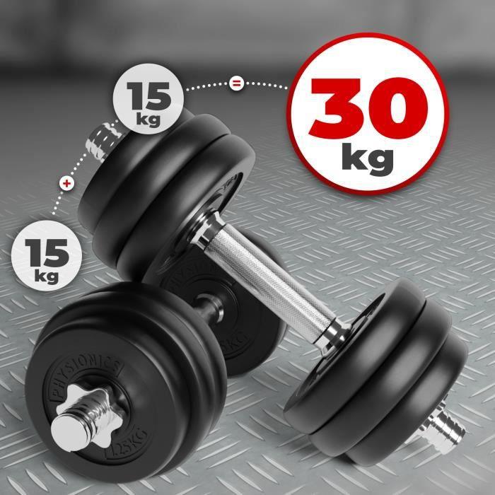 Physionics® Haltère / Poids de Musculation - 2 x 15 kg, 2 Barres Courtes et 4 Fermoirs -Disques pour Fitness, Set d'Haltères Courts