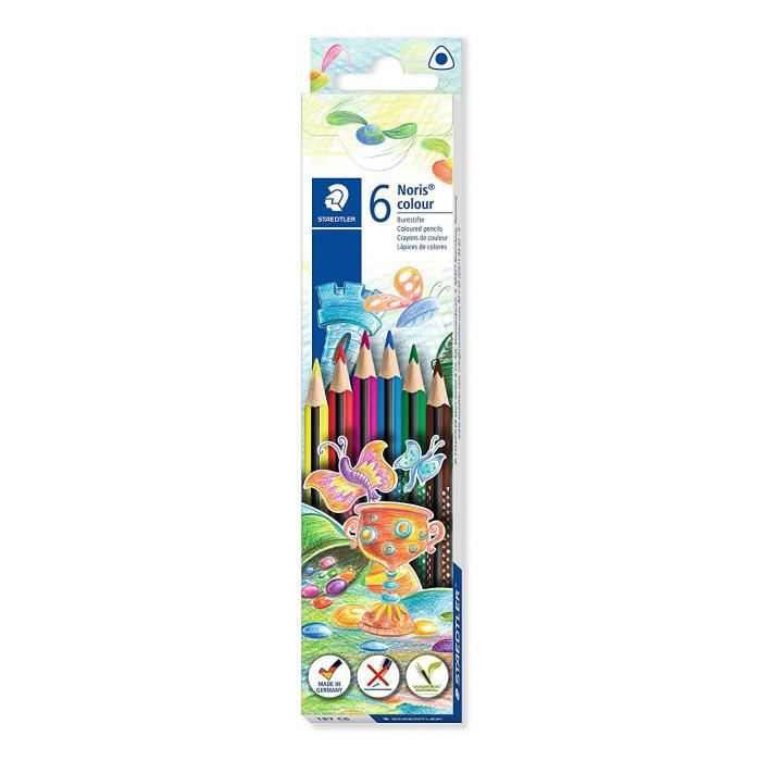 Noris® colour 187 - Etui carton 6 crayons de couleur triangulaires WOPEX® assortis