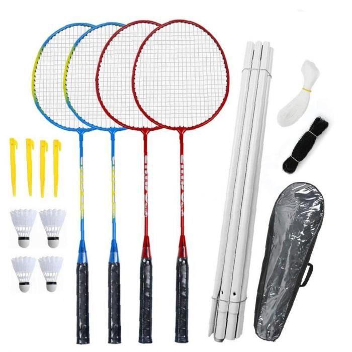 Raquettes de Badminton Set-4 Personne Badminton Ensemble avec Net pour Garden Setup Easy Setup Badminton Ensemble pour Enfants adult