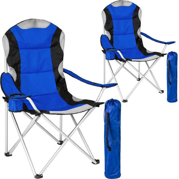 TECTAKE Lot de 2 Chaises de Camping pliables avec Porte Gobelet et Housse Sac de Transport Bleu Noir