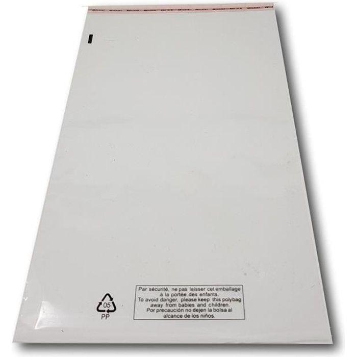 100 Sachet emballage plastique transparent à fermeture adhésive repositionnable haute brillance 220 x 350 mm + rabat 40 pochette emb