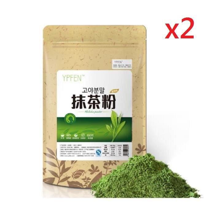 200G Matcha Poudre de thé vert pur certifié bio haut de gamme en vrac naturel