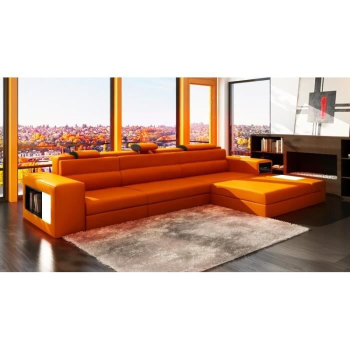 canap d 39 angle en cuir orange design avec lumi re achat. Black Bedroom Furniture Sets. Home Design Ideas