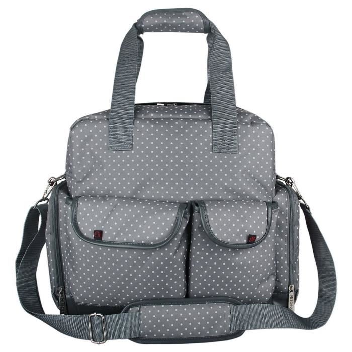 ecosusi grand sac langer sac dos sac langer pour b b polka dot gris achat vente sac. Black Bedroom Furniture Sets. Home Design Ideas