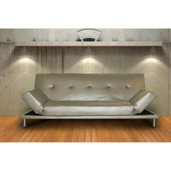 canap lit convertible cuir argent aigle achat vente canap sofa divan cdiscount. Black Bedroom Furniture Sets. Home Design Ideas