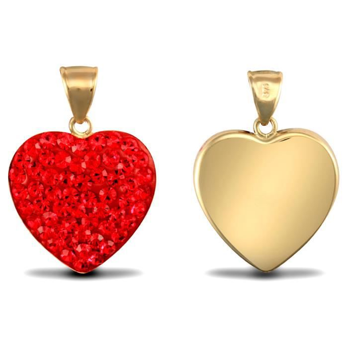 Jewelco Londres dames 9K or jaune rouge cristal rond amour coeur charme pendentif