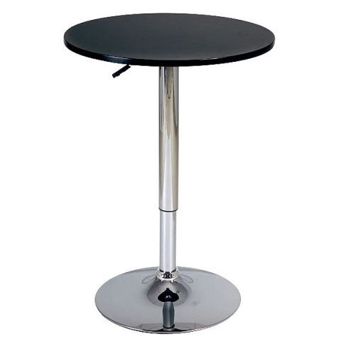 Table de bar reglable design en bois noir achat vente for Pied table bar reglable
