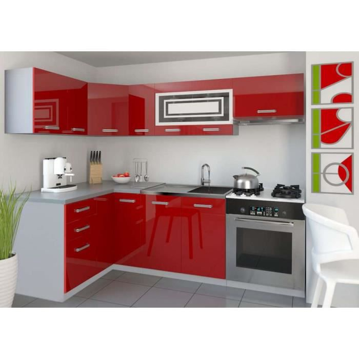 justhome lidja 1 l cuisine quip e compl te 130x230 cm couleur rouge laqu haute brillance. Black Bedroom Furniture Sets. Home Design Ideas
