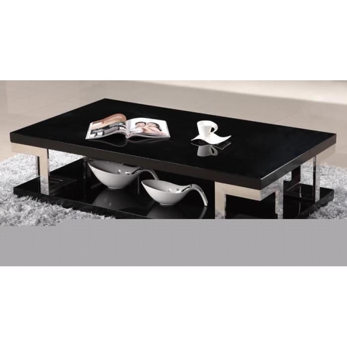 Table basse laqu e noir et chrome club achat vente table basse table bass - Table basse laquee noir ...