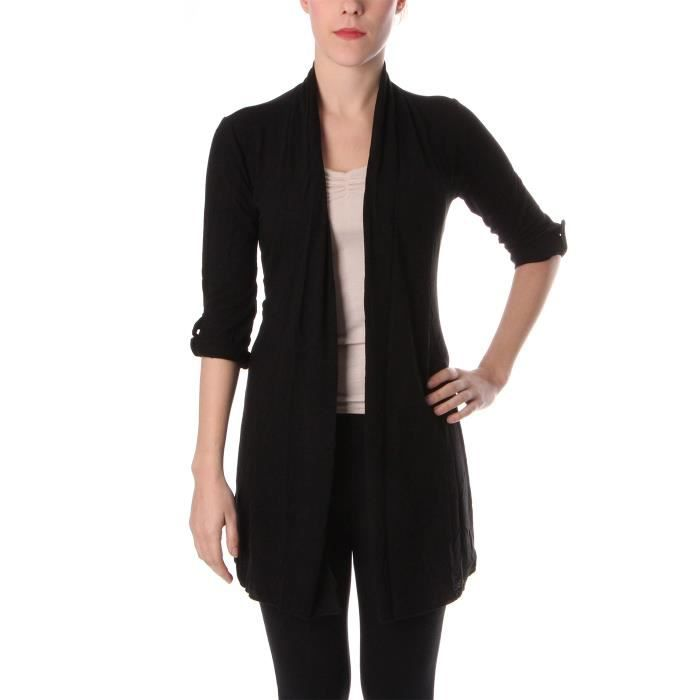 gilet simple femme noir achat vente gilet cardigan gilet simple femme noir cdiscount. Black Bedroom Furniture Sets. Home Design Ideas