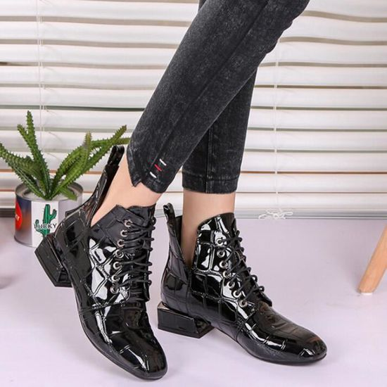07073636c48ea7 ... Oppapps12523 Place Patent Shoes Bottes Round Cuir En Talon Toe Martin  Respirant Femmes AOqrnxA8w ...