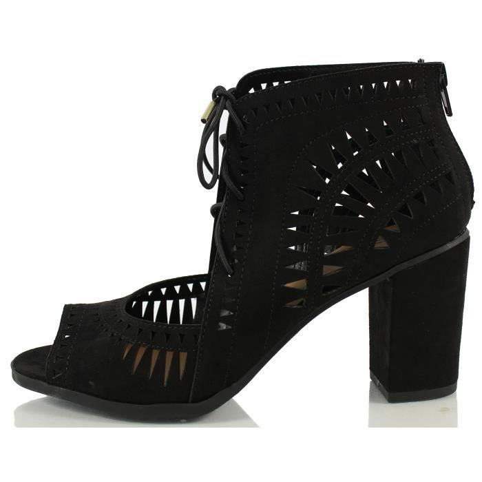 Delicious Yorker Faux Suede Cutout Lace Up Open Toe Stacked Heel VRRVH Taille-41