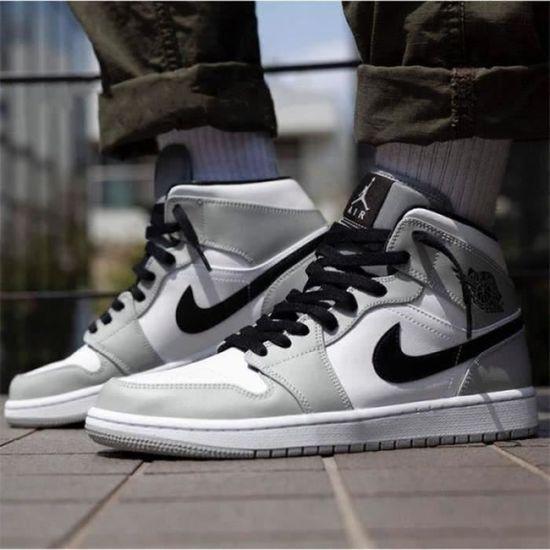 Basket Airs Jordans 1 Mid Chaussures Homme Femme Gris Airs Jordans One