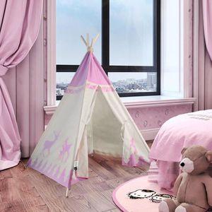 TENTE TUNNEL D'ACTIVITÉ 100% Toile Coton Naturel Jouer Tente pour Enfants,