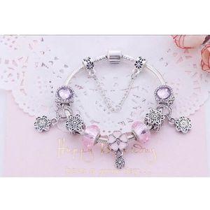 BRACELET - GOURMETTE 17cm Charms Bracelet Femme Pandora Style bijoux Fe