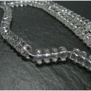 Perles de Pierre 10pc Cristal de Roche Quartz Rondelles Facettées 5x3mm   45