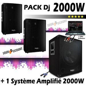 PACK SONO SONO  2000W Enceintes Caisson Câbles PA DJ SONO MI