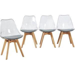 Lot de 4 Chaises Salle Manger Scandinaves avec Pieds en H/être Robustes pour Le Bureau//Salon//Loisirs Noir, 4