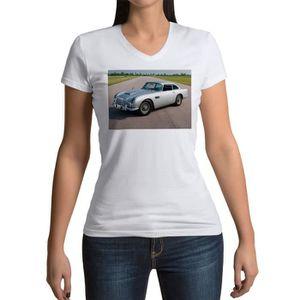 T-SHIRT T-shirt Femme Col V Voiture de Sport Ancienne Jame