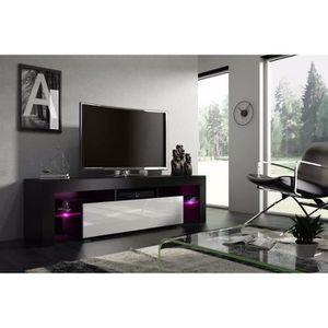 MEUBLE TV Meuble tv 160 cm  noir mat  et blanc laqué avec le