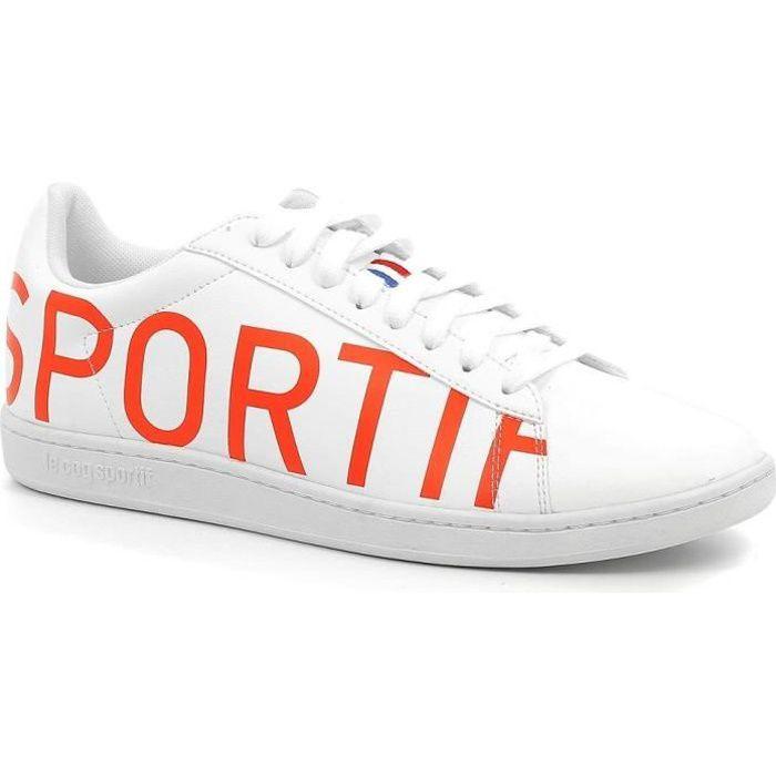 LE COQ SPORTIF Baskets COURTSET BIG LOGO - Adulte - Blanc/Orange
