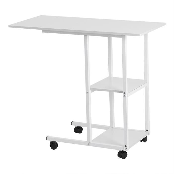 Table de lit sur roulettes - Bureau à la maison Portable sur table de lit(blanche)-JAD
