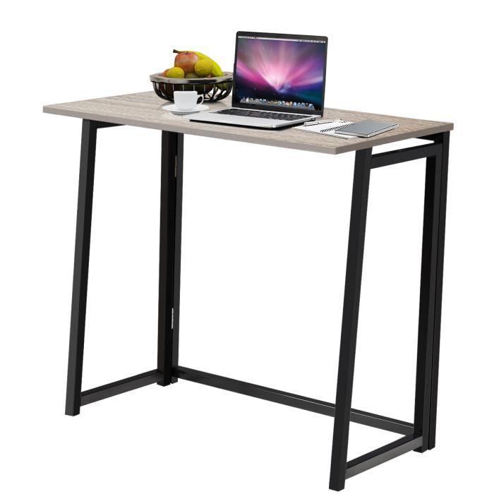 COSTWAY Bureau d'Ordinateur en Bois Pliable Table de Bueau Rectangulaire Cadre en Acier sans Assemblage pour Salon/Domicile Naturel