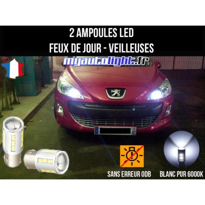 Pack feux de jour veilleuses led blanc xenon pour Peugeot 308
