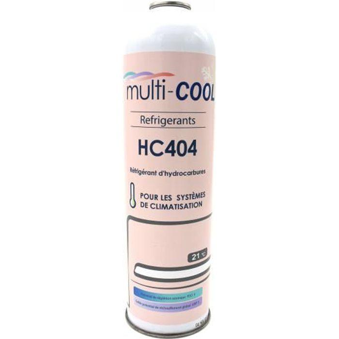 Canette Réfrigérant Multicool-404 de 400grs, remplace le R22, R407C, R502 et R404a