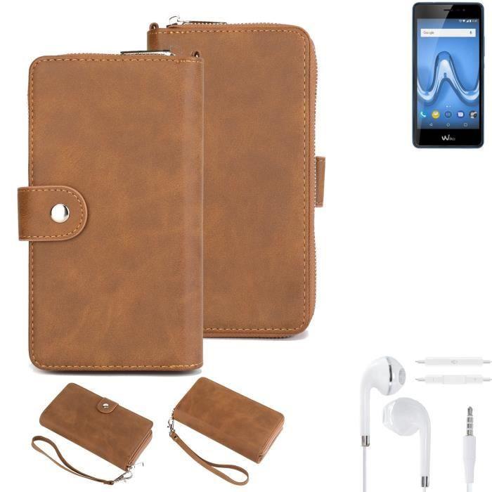 Étui portefeuille pour téléphone portable Wiko Tommy 2 Plus + écouteurs Housse de protection pare-chocs 265984