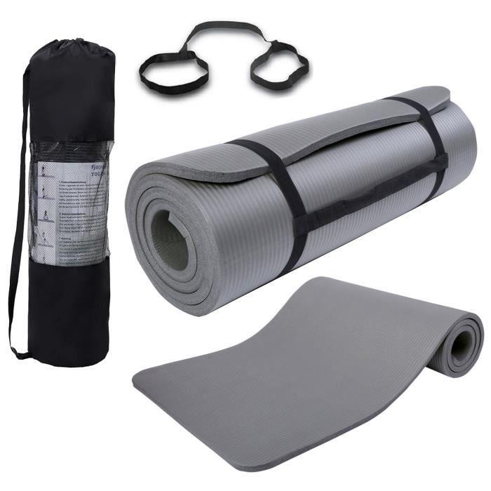 Tapis de Yoga 15mm D'épaisseur Antidérapant Exercice Fitness Physio Pilates Tapis de Gym - (185 X 80 X 1,5cm) Gris