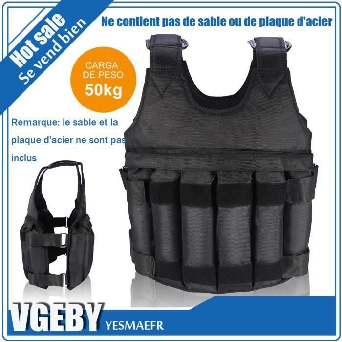 50 kg de chargement Poids ajustable Weighted Vest Blouson Gilet d'exercice boxe entrainement Invisible