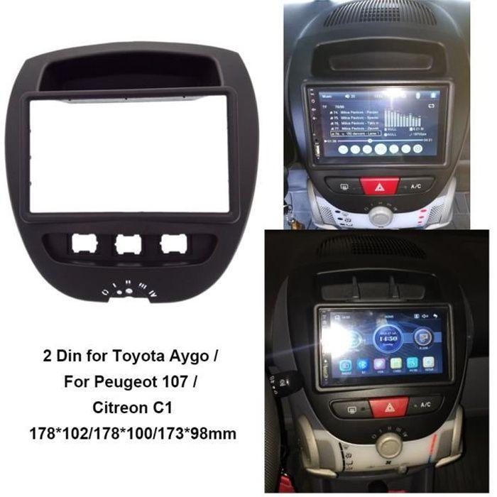 Pièces Auto,2 Din carénage stéréo de voiture adapté pour Toyota Aygo-pour Peugeot 107 - Citreon C1 fascia Dash Kit panneau Radio
