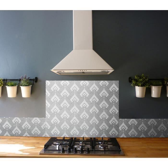 Crédence adhésive en aluminium Art déco - L. 20 x l. 20 cm - Noir