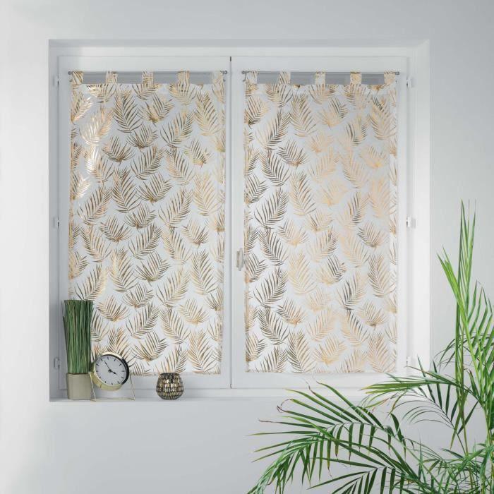 Paire droite passants 2x60x120 cm voile sable imprime metallise kolza Blanc/Or