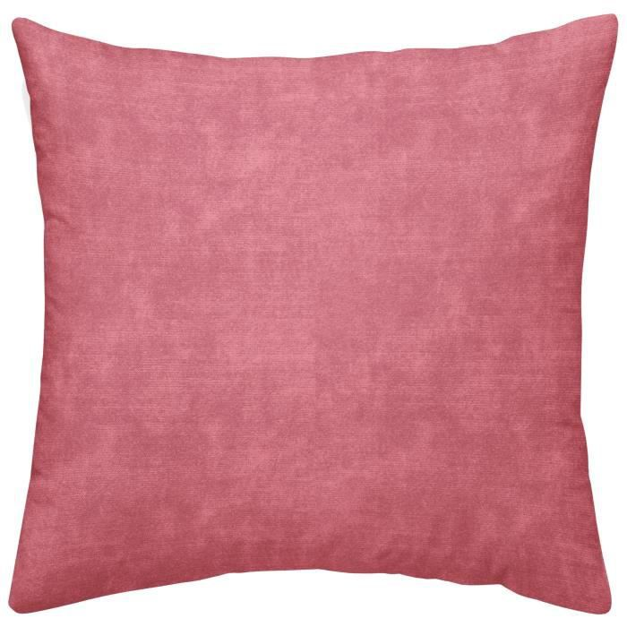 TODAY TROPIK SUMMER Coussin déhoussable Aurora - Velours et chambray - 40 x 40 cm - Rose