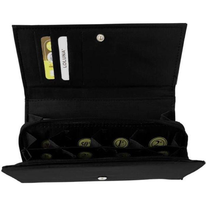 LOLUNA® Grand Porte monnaie trieur euro, compartiment billets, 8 compartiments séparés, Qualité supérieur, idée cadeau - Noir