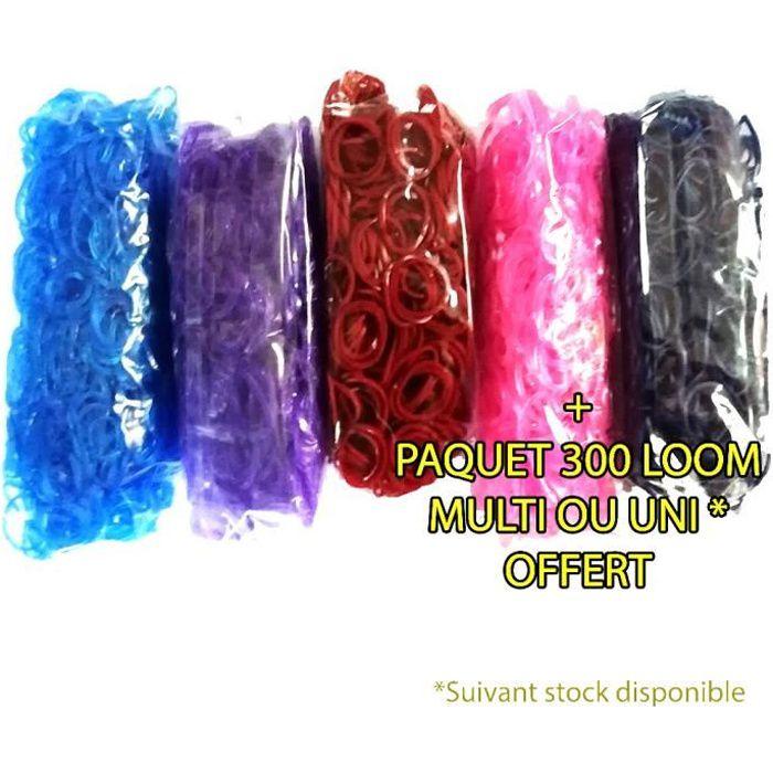 Lot de 5 Paquets de 600 élastiques loom - Bleu marine / Rouge bordeaux / Violet / Bleu & Rose glitter - Avec connecteurs